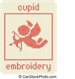 embroidery with cupid and frame vector illustration isolated on white background