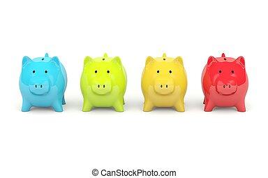 cuatro, colores, cerdito, Banco, aislado, blanco