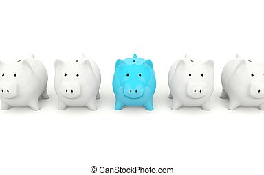Blue piggy bank isolated on white