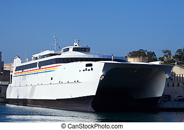 catamaran ferry - Big catamaran ferry at mediterranean port...