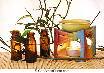 Aroma Oil Burner Still Life - Oil Bowl Burner and Bottles...