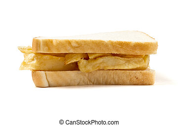Chip Sandwich - Traditional English chip sandwich isolated...