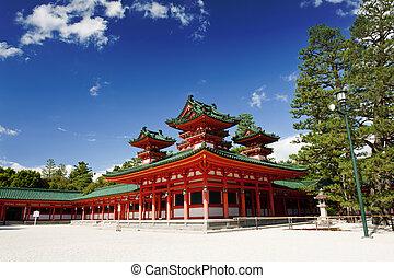 Heian shrine - Beautiful vivid photo of a Heian Shrine in...