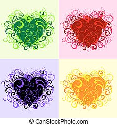 Floral hearts - Set of beautiful floral heart elements...