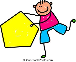Pentagon Kid - Cute cartoon illustration of a happy little...