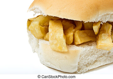 Chip Butty - Traditional English chip butty isolated on...