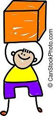 Cube Kid - Cute cartoon illustration of a happy little boy...