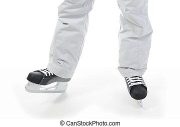 hockey skates. - man in a hockey skate. Isolated on white...