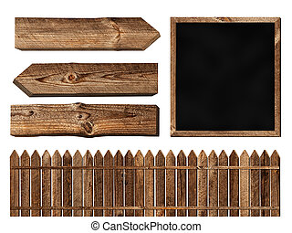 wooden elements - Set of different wooden elements over...