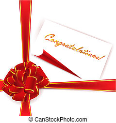 red ribbon bow - big red ribbon bow over white background...
