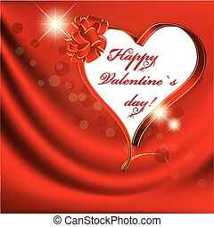 Valentine day ribbon heart over red drapery