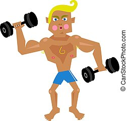 Workout - Cartoon illustration of a young man lifting...