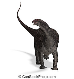 Dinosaur Diamantinasaurus. 3D rendering with clipping path...