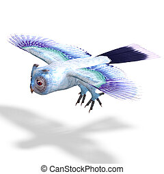 light blue fantasy owl.3D rendering with clipping path and shadow over white