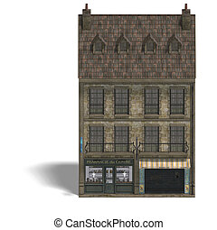 City Building Pharmacy. 3D rendering with clipping path and...
