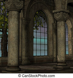 magic window in a fantasy setting. 3D rendering of a fantasy...