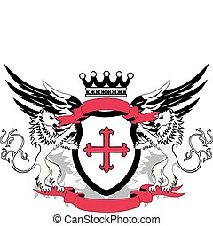Grunge coat of arms with cross