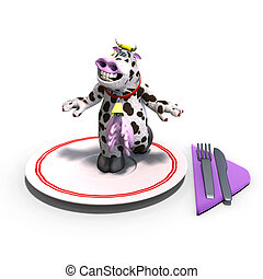 cute and funny toon cow served on a dish as a meal. 3D rendering with clipping path and shadow over white