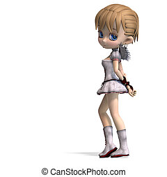 Lovely Toon Angel for your Valentine. 3D rendering with clipping path and shadow over white