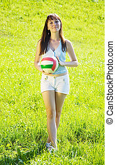 sporty girl with volleyball - Portrait of sporty girl with...