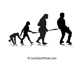 Human Evolution 4 - An abstract vector illustration of human...