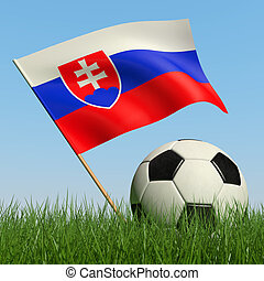 Soccer ball in the grass and flag of Slovakia - Soccer ball...