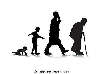Human Aging - An abstract vector illustration of human...