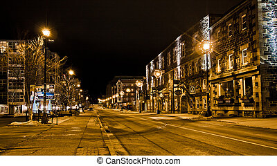 Halifax Night - Night street scene in Halifax, Nova Scotia,...
