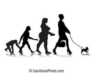 Human Evolution 9 - An abstract vector illustration of human...
