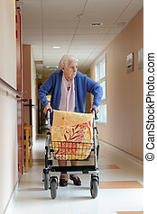 male nurse and senior woman - senior woman pushing a walking...