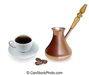 Copper Turk with a cup of coffee