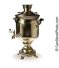 Russian brass samovar on a white background