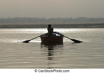 Rowing Boat Varanasi - The Ganges is the largest river in...