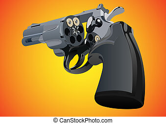 Revolver with unfolded drum and two rounds on a red-yellow...