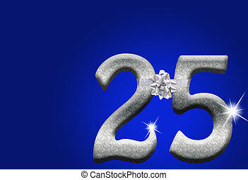 25th Anniversary - The numbers 25 in silver with ribbon and...