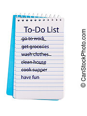 Making time for fun - A coiled notebook with a to do list on...