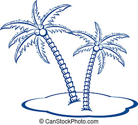 Silhouette Palm trees with coconuts #2. One-colour vector...