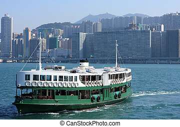 Ferry boat in Victoria Harbor, Hong Kong