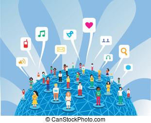 Media, globalny, sieć, towarzyski
