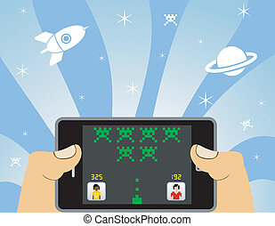 smart phone online gaming - Hands playing network games in a...