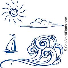 Łódka, fale, chmury, słońce