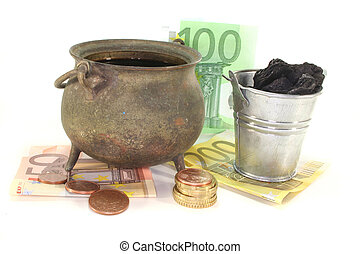 Heating costs - Boilers with fuel oil, Bucket of coal and...