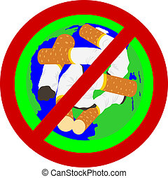World - No Tobacco - Prohibition sign urging to quit. Used...