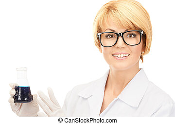 lab worker holding up test tube - picture of beautiful lab...