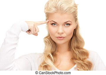 pensive businesswoman over white - bright picture of pensive...
