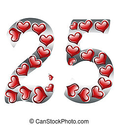 25th Anniversary - The numbers 25 in silver with with hearts...