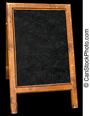 Empty menu board stand sign isolated over black