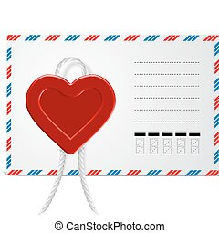 Envelope With Hearts, Isolated On White Background