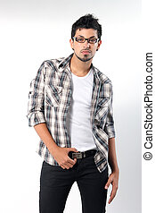 Fashion men pants, a shirt with the grey background