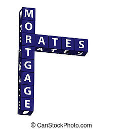 Mortgage Rates - Blue blocks spelling mortgage rates on a...